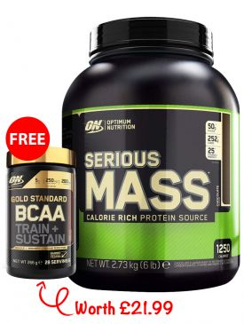 PROMO - Optimum Nutrition Serious Mass (2.73kg) + FREE Gold Standard BCAA (266g)