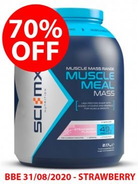 CLEARANCE - 70% OFF - Sci-MX Muscle Meal Mass (2.17kg) - Strawberry - BBE 31/08/2020