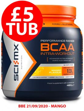 £5 TUB - Sci-MX BCAA Intra Workout (480g) - Mango - BBE 21/09/2020