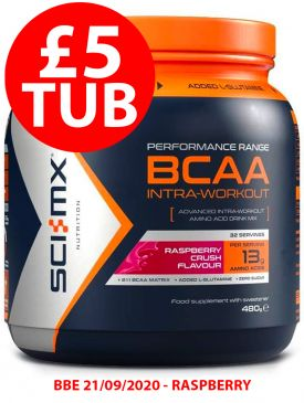 £5 Tub - Sci-MX BCAA Intra Workout (480g) - Raspberry - BBE 21/09/2020