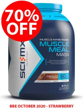 CLEARANCE - 70% OFF - Sci-MX Muscle Meal Mass (2.17kg) - Strawberry - BBE 10/20