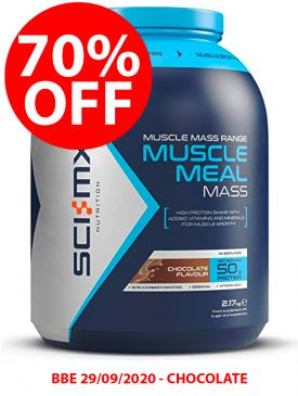 CLEARANCE - 70% OFF - Sci-MX Muscle Meal Mass (2.17kg) - Chocolate - BBE 29/09/2020