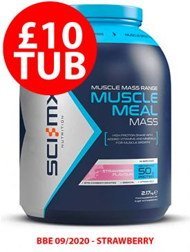 CLEARANCE - 80% OFF - Sci-MX Muscle Meal Mass (2.17kg) - Strawberry - BBE 09/2020