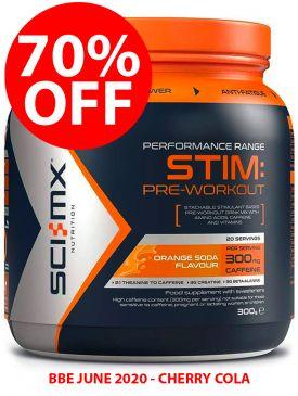 70% OFF - Sci-MX Stim Pre-Workout (300g) - Cherry Cola - BBE 06/20
