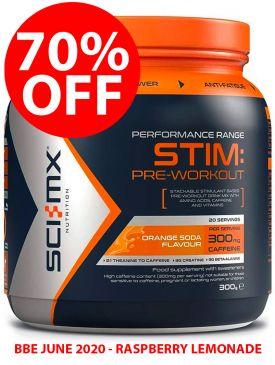 70% OFF - Sci-MX Stim Pre-Workout (300g) - Raspberry Lemonade - BBE 06/20