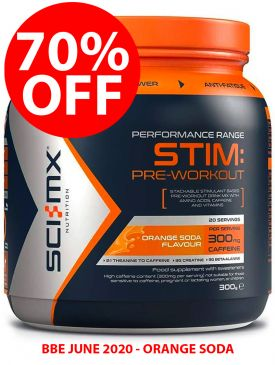 70% OFF - Sci-MX Stim Pre-Workout (300g) - Orange - BBE 06/20