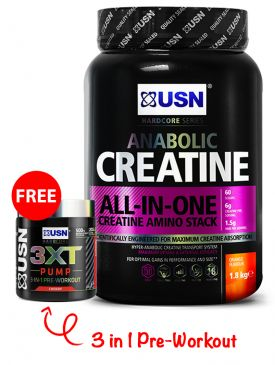 USN Creatine Anabolic (1.8kg) + FREE 3XT Pump (105g) Pre-Workout